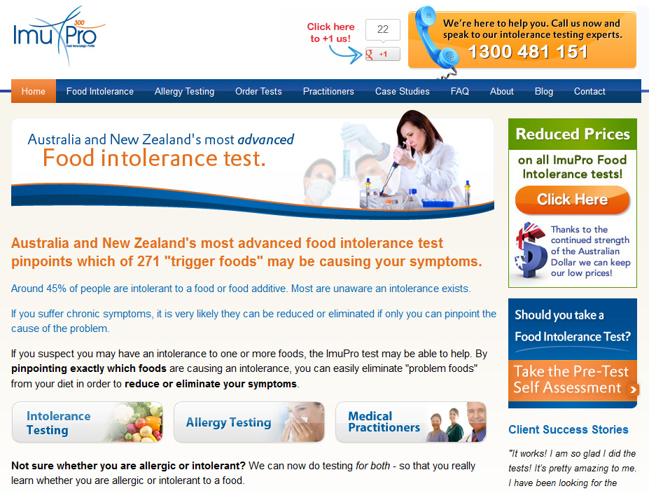 Health sales page.  This product provides food allergy and food intolerance testing. So it's a valuable health-related product … especially if you have problems with certain foods.