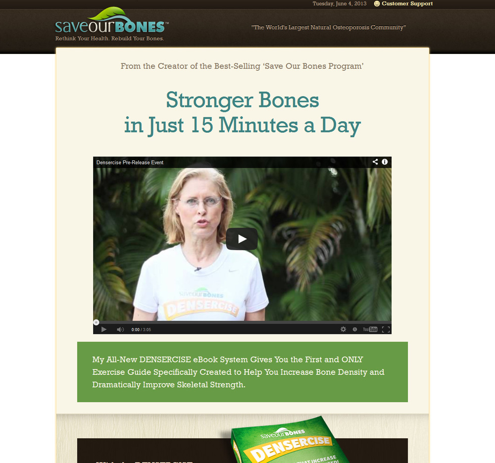 Sales page for eBook.  This copy was for an eBook and exercise program for people suffering from osteoporosis. The headline presents a simple, powerful, and believable offer.