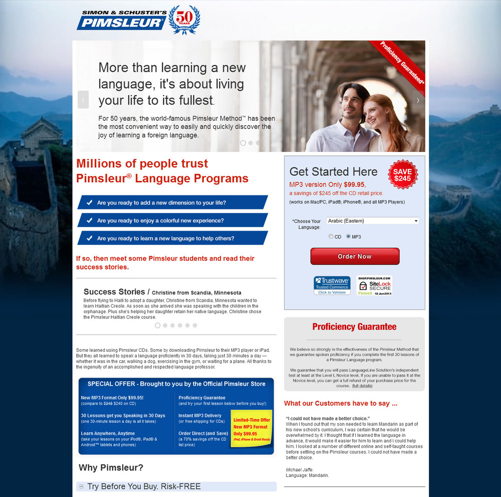 Direct response copy for Pimsleur language learning system.  Pimsleur, a division of Simon and Schuster, contracted me to write the copy for a new landing page. The copy uses tabs, a relatively new development on sales pages. The headline focuses on the ultimate benefit of learning a new language.
