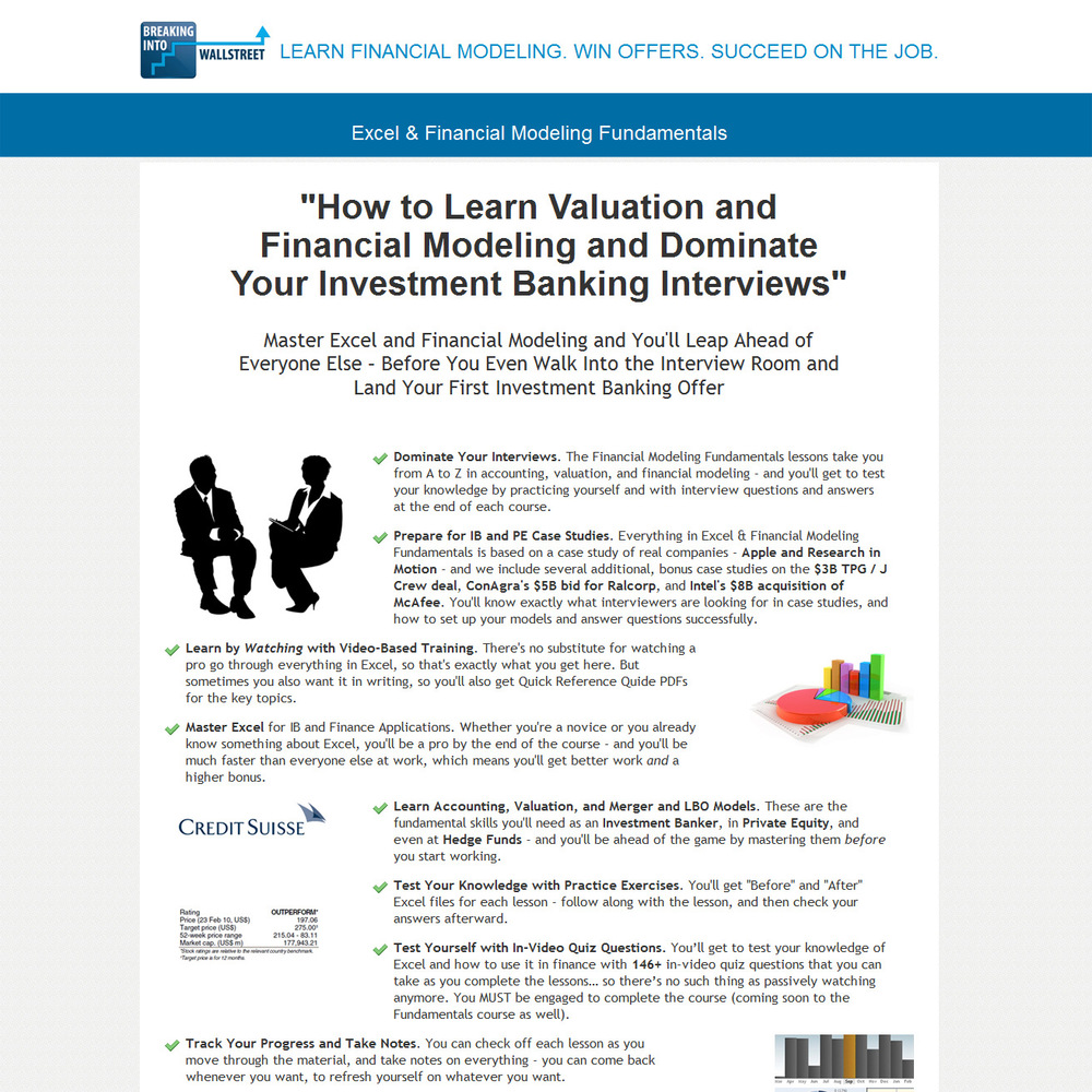 Long-form sales page for financial product.  The offer is key here. You're not just learning valuation and financial modeling … you're on your way to an interview with an investment bank – and a lucrative career.