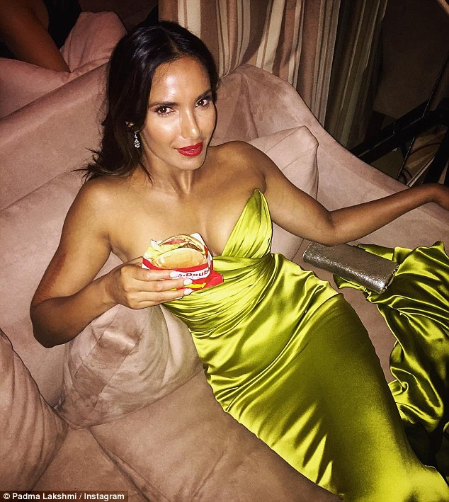 The Top Chef host took to Instagram to show off her one true love - In-N-Out Burger, perfectly accessorized by a form fitting Romona Keveza Luxe RTW chartreuse gown.  Source: The Daily Mail