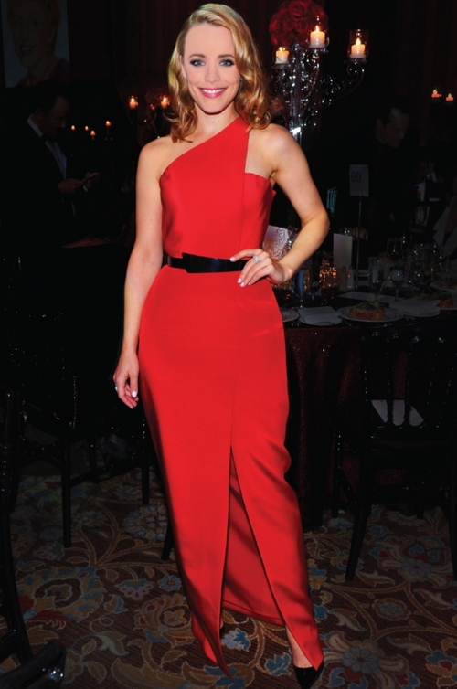 Award-Winning Actress, Rachael McAdams in Romona Red at the Walk of Fame Awards.