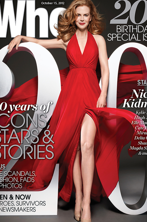 Nicole Kidman on the cover of the Who Magazine 20th Birthday Special Issue wearing Romona Keveza Collection.