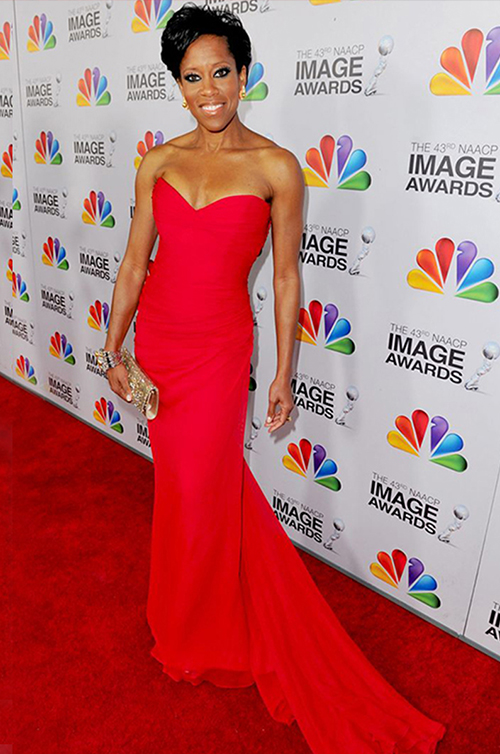 Award-Winning Actress Regina King in Romona Red at the NAACP Image Awards.