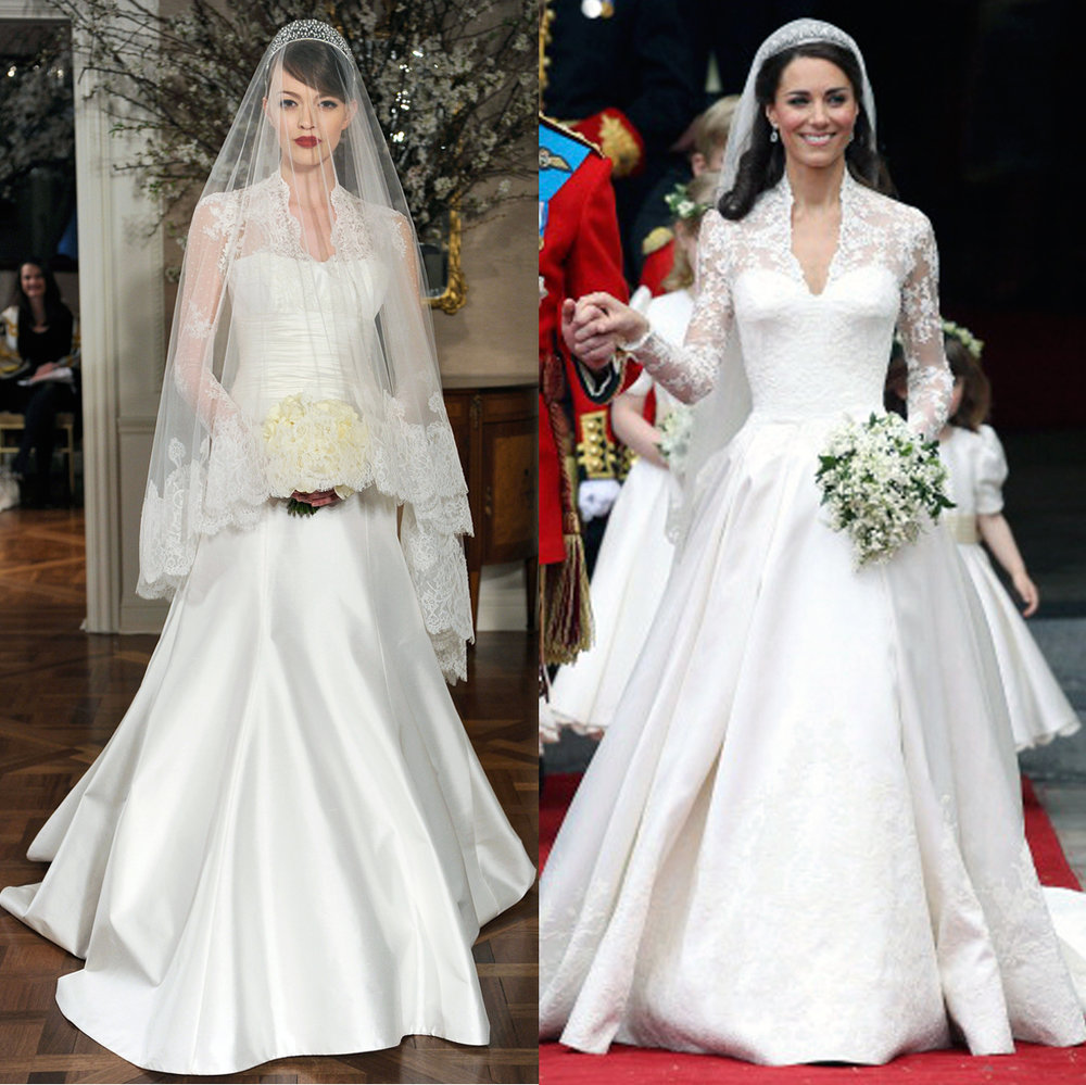 Left: Legends Romona Keveža Style L249, Right: Her Royal Highness Katherine The Duchess of Cambridge