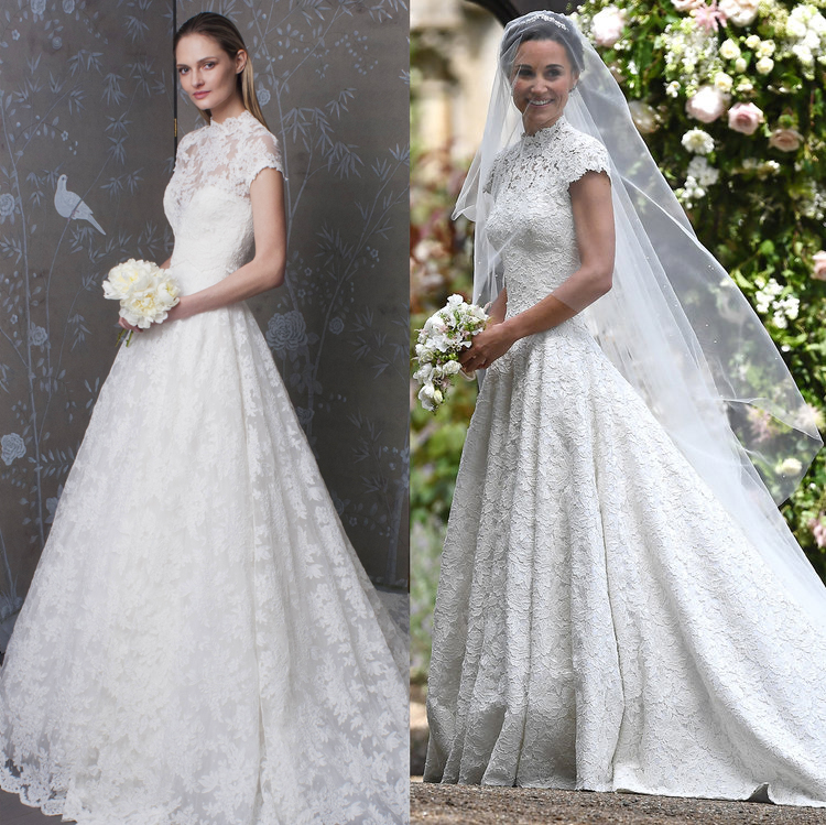 fa3e37884 Left: Legends Romona Keveža Style L7179 unveiled at New York Bridal Fashion  Week on October 6th, 2016. Right: Pippa Middleton on her wedding day May  20th, ...