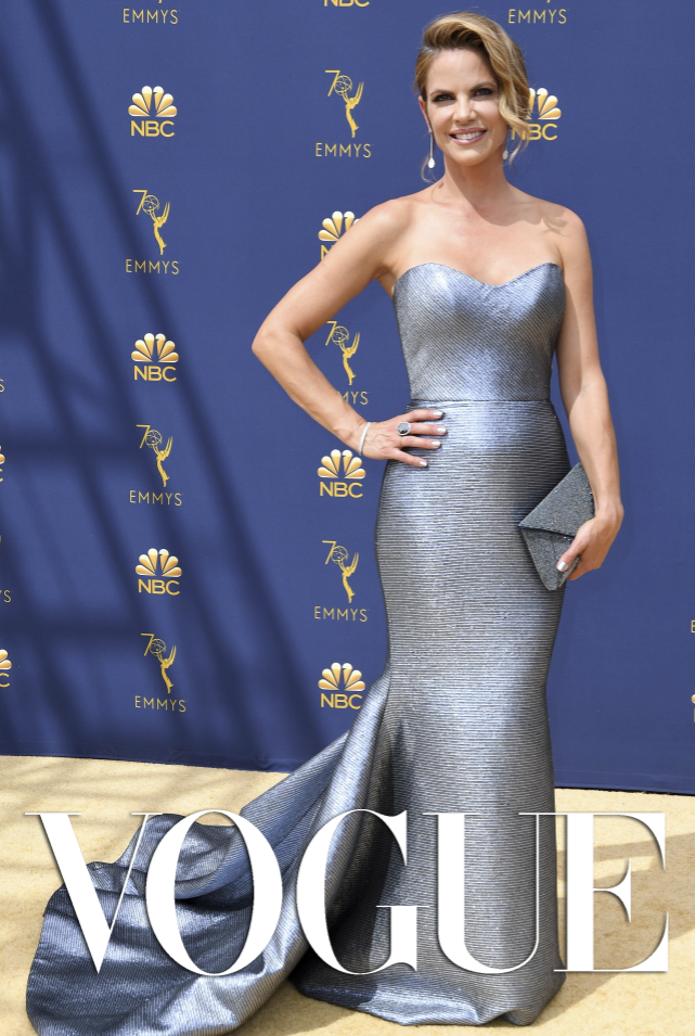f3bf6f2c6e8 Vogue Magazine features Natalie Morales in Romona Keveza at the Emmys