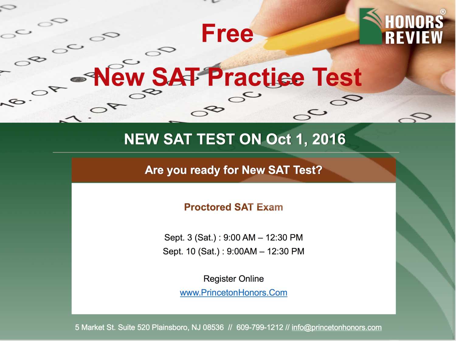 FREE SAT PRACTICE TEST — Honors Review