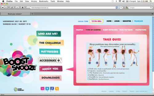 Quizzes to find your sleeping patterns, perfect mattress etc