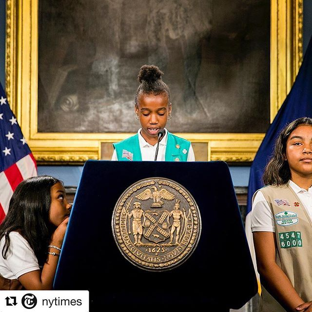 "#images4change #GirlScouts #Troop6000 #homeless #homelessyouth @nytimes // In the stately Blue Room at City Hall in Manhattan yesterday, 5 members of Girl Scouts Troop 6000 stepped up to the lectern. Their news: #Troop6000, which was established in February at a homeless shelter in Queens, is now expected to serve about 500 girls at 14 additional shelters throughout NYC. The 27 members of the existing troop live with their families in a budget hotel that was converted into shelter space in Long Island City. Their story has helped bring attention to the plight of the city's homeless children, who make up nearly 40% of the shelter system. ""The girls ran the show like seasoned pros of the media circuit,"" writes @samuelhodgson, who took this photo. During the press conference, Karina, Sanaa, Christina, Nayalynn and Tanae — ages 5 to 11 — talked about the troop's origins, its expansion and what the #GirlScouts meant to them. What did Tanae, 5, like most about @girlscouts? After a long pause and a little help reaching the microphone, she said, ""Everything."" Sanaa, 9, was not as shy: ""We have been on TV a lot."" Follow @samuelhodgson to see more photos."