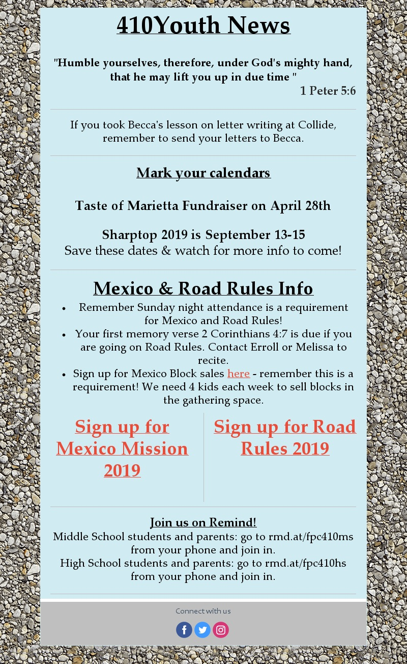Sign up for Mexico Block sales  here   Go to the  Events  page to sign up for Mexico or Road Rules