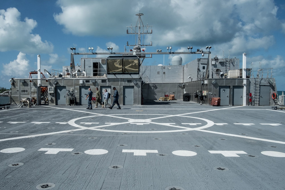 This is the flight deck, which is large enough to land an MV-22 Osprey, though said MV-22 Osprey would not be able to take off again.