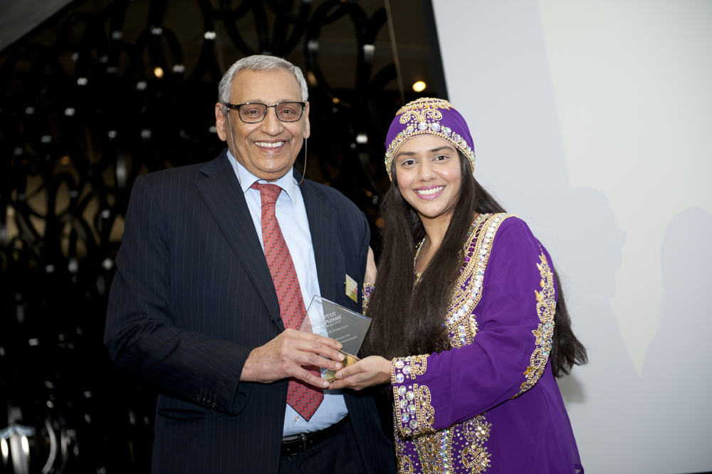 Winner HE Khaled Al-Duwaisan (Kuwait) with Talyn Rahman-Figueroa
