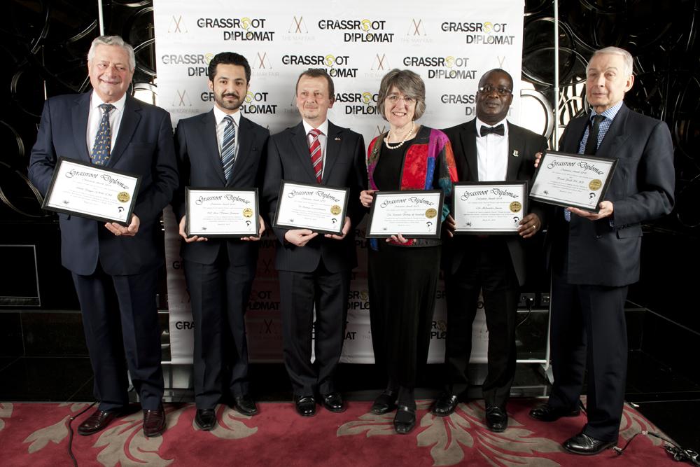 (L-R) Honourees Albert Poggio OBE, rep from Bahrain, Dr Razvan Constantinescu, Baroness Finlay, Cllr Adedamola Aminu, Frank Field MP