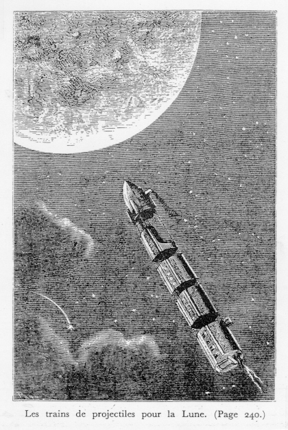An illustration from Verne's book  From the Earth to the Moon  (1865)