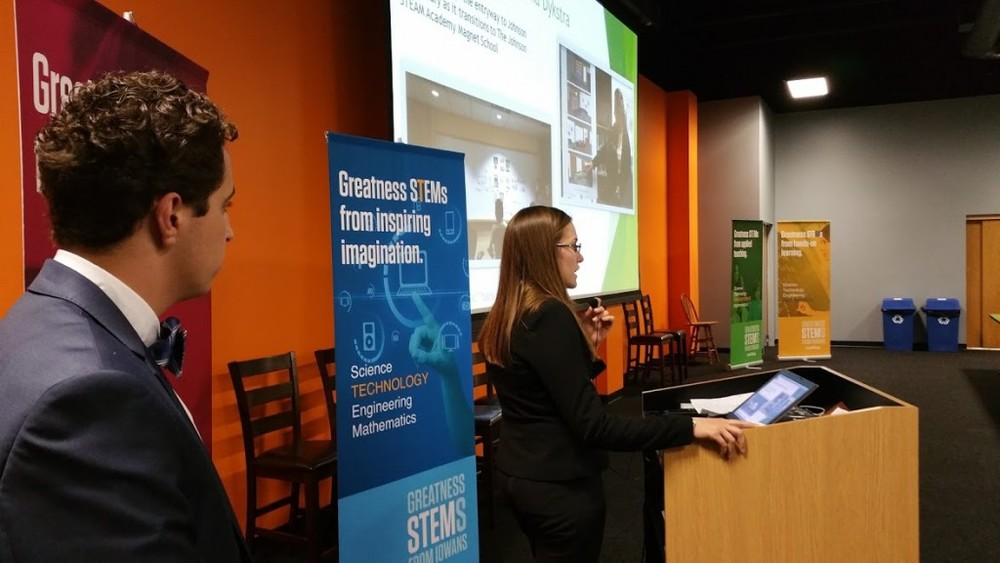 Iowa BIG students Bre Dykstra and George Elossais address the Iowa STEM Advisory Council.