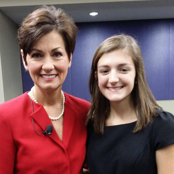 Iowa BIG graduate Kinzie Farmer with Iowa Lieutenant Governor Kim Reynolds with whom Kinzie is interning this summer.