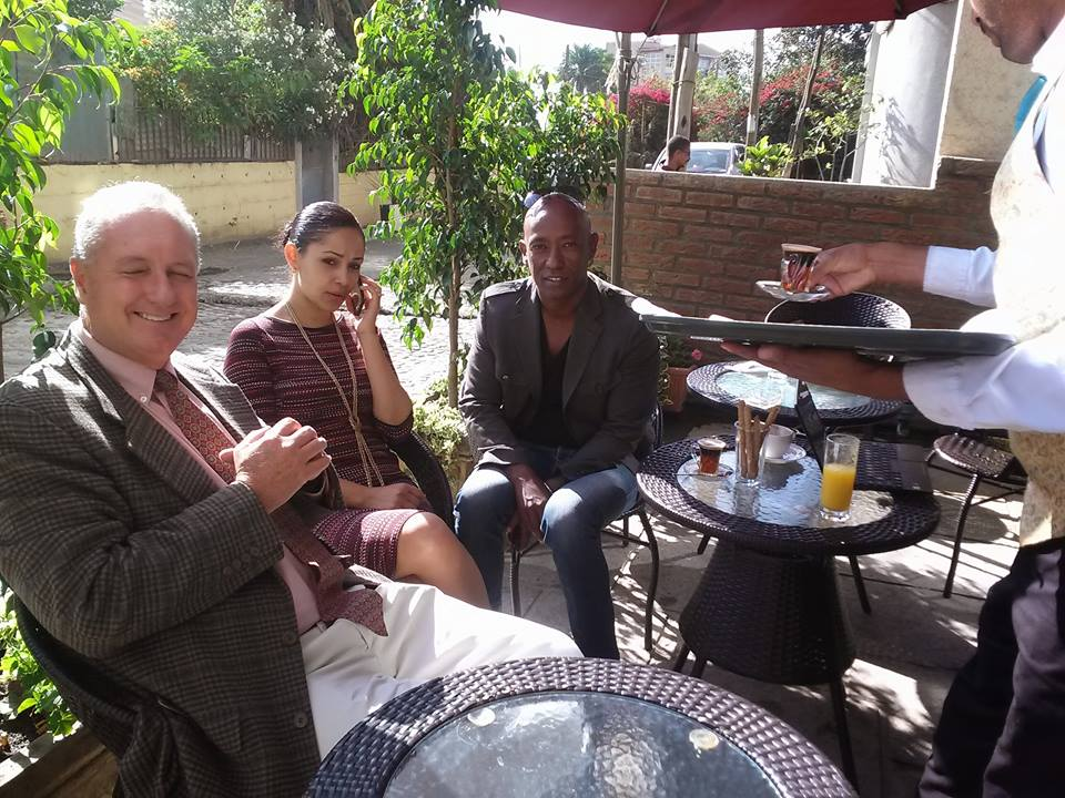 Peter at morning coffee in Ethiopia