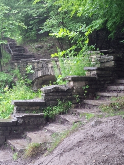 Steps along a trail in Letchworth State Park