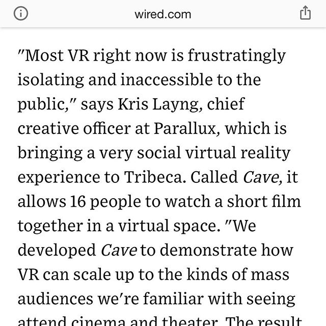 Awesome to be quoted in one of my favorite magazines today, WIRED, with @thecinematic and @jessicabrillhart  @parallux.co @tribecafilmfestival @bose  https://www.google.com/amp/s/www.wired.com/story/film-festivals-move-to-make-vr-marquee-events/amp