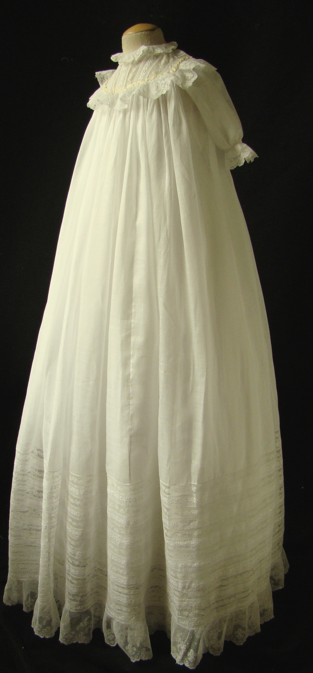 Light Cotton Gown with Ribbons and Matching Slip, c. 1900