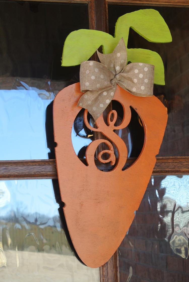 Best Wooden Monogram Carrot Door Hanger — Caught Looking KT16