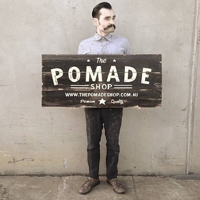 The finished sign @tjguzzardi did for The Pomade Shop Australia #thepomadeshop #menspomade #pomade #grooming #menshair #pomp #fade #groomnzoom #barberlife #trim #tapercut #beards #moustache #slickanddestroy #thepomadeshopaus