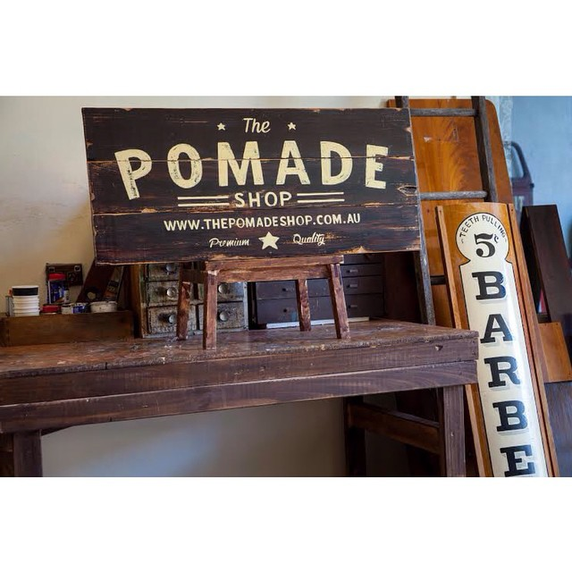@tjguzzardi sent through a few more pics of the timber sign he made for us taken at his workshop. If you haven't checked out his work indulge your eyes. #thesignpainter #thepomadeshop #thepomadeshopaus #mensstyle #mensgrooming