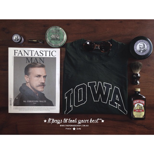 •Flat Lay Friday•    This week we are laying down some new products & the latest copy of #thefantasticman with Christoph Waltz looking stylish with his Mo.    #fantasticmanmagazine #mühle #luckytiger #captainfawcetts #reuzel #kentcombs #thepomadeshop #epokhe #flatlayfriday
