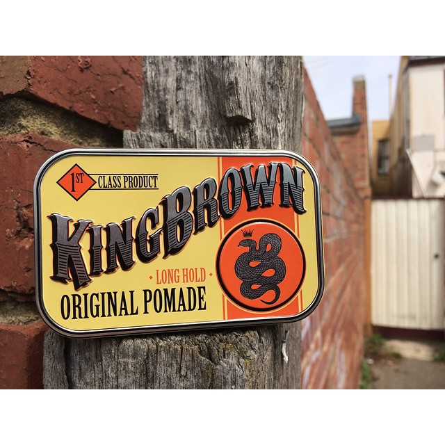 "King Brown Original. As Australian as red bricks & picket fences. We have a special discount code this week only enter ""LIVELIKEKINGS"" at checkout for 10% off your @kingbrown_pomade This is the first of our new sunday weekly #pomadeshopspecials. We like to encourage our customers to try out new products so we hope you embrace it! #thepomadeshop #pomade #menstyle #mensgrooming #vintage #dapper #gents #gentleman"