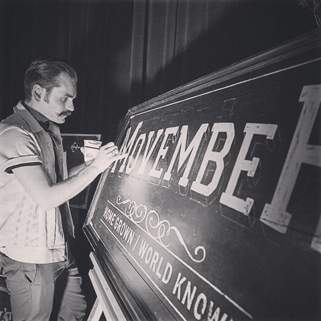 @tjguzzardi down some paint for #movember's opening night!     www.thepomadeshop.com.au     #movember #tjguzzardi #thepomadeshop #pomade #mensstyle #mensgrooming #dapper #moustache