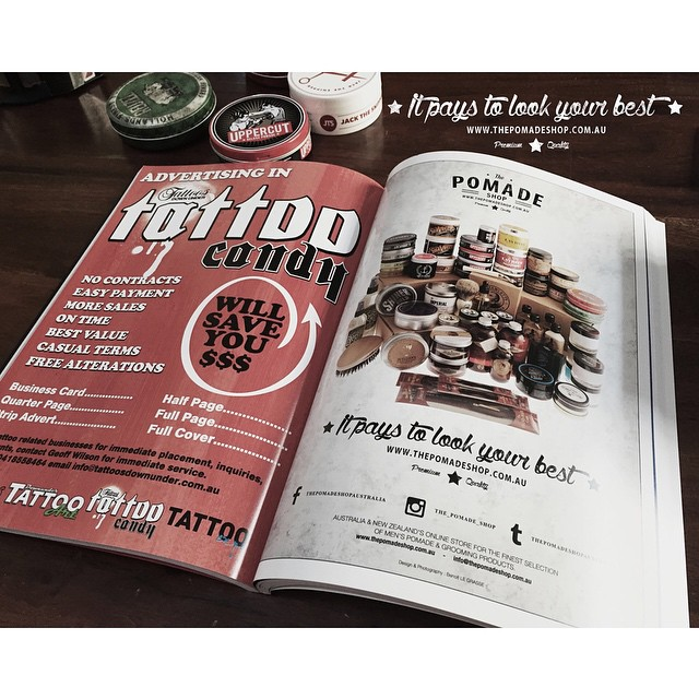 The latest Tattoo Candy has just come out today featuring our first ad! Loads of new tats from the best artists going round. Grab a copy & tag #thepomadeshop! www.thepomadeshop.com.au #thepomadeshop #tattoocandymagazine #tattoos #mensstyle #mensgrooming #dapper