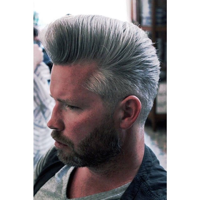 An awesome grey wolf coloured Pomp by Convict Coos @schorembarbier. www.thepomadeshop.com.au #pomp #reuzel #pompadour #thepomadeshop #vintage #dapper #oldskool #mensstyle #mensgrooming