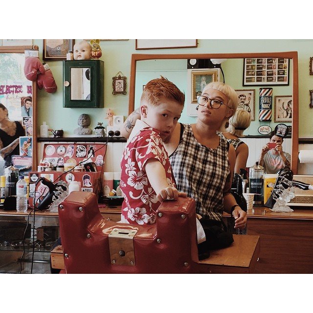 Little Charlie getting a slick cut @electric_brain_barbershop's Tantru.. Styled using @officiallayrite       www.thepomadeshop.com.au       #youngdapper #slickndestroy #ladykiller #thepomadeshop #layrite #pomade
