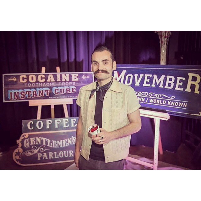 @tjguzzardi who handpainted pur shop sign doing his part for @movember! Happy Sunday guys!    #movember #moustache #thepomadeshop #mensstyle #menshealth #vintage #handpainted #signs