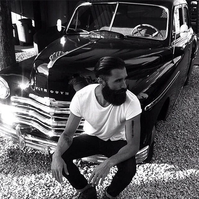 @lukeditella chillin with the Plymouth he bought & restored for his father.. Do something nice for someone this Monday!     #thepomadeshop #mensstyle #mensgrooming #pomade #dapper