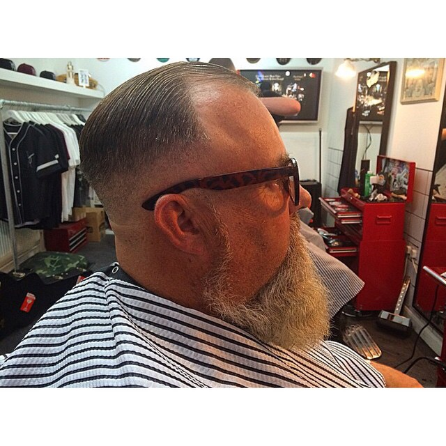 Another slick cut by @aono_barbershop on this bearded chap. Greased with @uppercutdeluxe       www.thepomadeshop.com.au       #aonobarbers #slickndestroy #barber #barbermade #thepomadeshop #mensstyle #mensgrooming #oldskool
