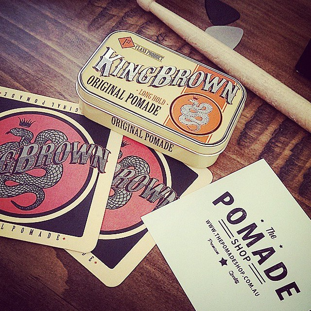 @kingbrown_pomade & The Pomade Shop..great pic taken by @billygoatpants     King Brown is one of our top-selling oil based pomades. Made in Australia, with medium hold & a unique vanilla-tobacco scent.       www.thepomadeshop.com.au     #kingbrownpomade #livelikekings #gentlemanspursuits #thepomadeshop #vintage #dapper #mensstyle #mensgrooming
