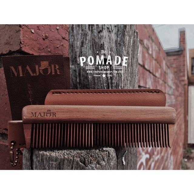 The legends at @woodenmajor sent us a couple samples of thier handcrafted wooden combs. Each comb comes with a leather case & user guide. They glide like no other wooden comb, its like getting a head massage..Check them out #woodenmajor #thepomadeshop #combs #beards #handmade #mensstyle #mensgrooming