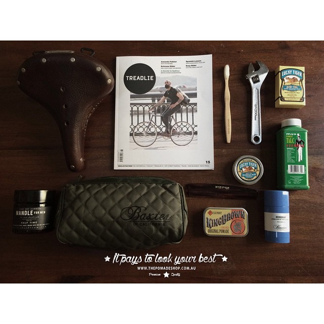 Our favourite of the week!    • Flat Lay Friday •    This week its a cycle essentials style collection. @kingbrown_pomade & a Mason Pearson comb, the oil based pomade is the perfect pomade for easy restyling after each ride..@baxterofca Dopp carry bag to fit all you daily grooming gear. Pinuad talc to keep you dry & fresh. Baxter's citrus herbal deoderant… And lastly @cocodaydream 'Mandle' (Man Candle) to help you unwind after a long ride @treadlie    #kingbrownpomade #luckytigergrooming #baxterofcalifornia #thepomadeshop #treadlie #cycling ##uppercutdeluxe #mandle #pomade #fixie #fixedwheel #mensstyle #mensgrooming