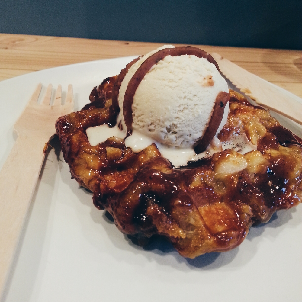 + liege waffle with nutella and bailey's infused vanilla ice cream