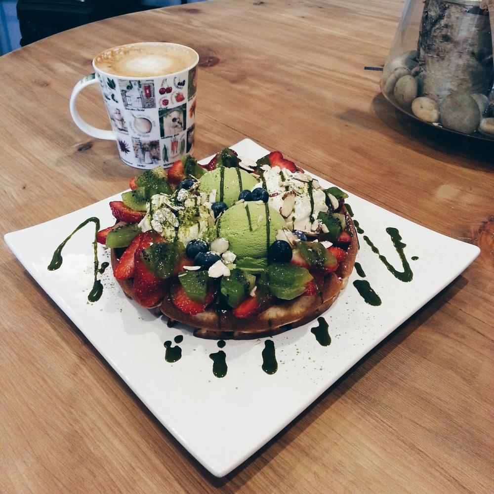 + green tea waffle