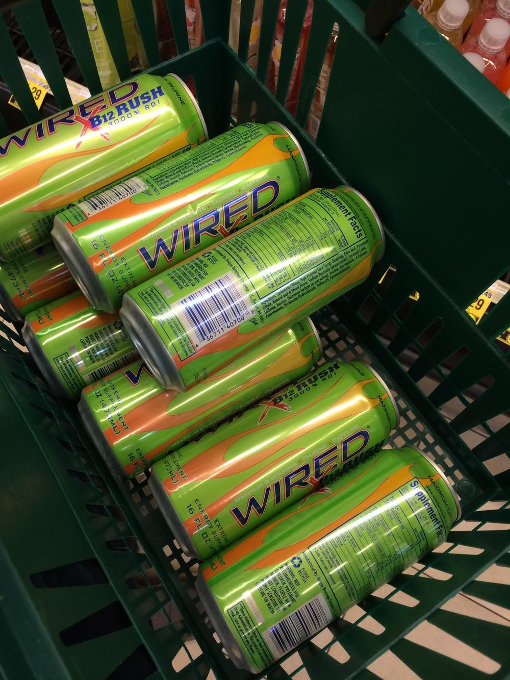 Lots of energy drinks