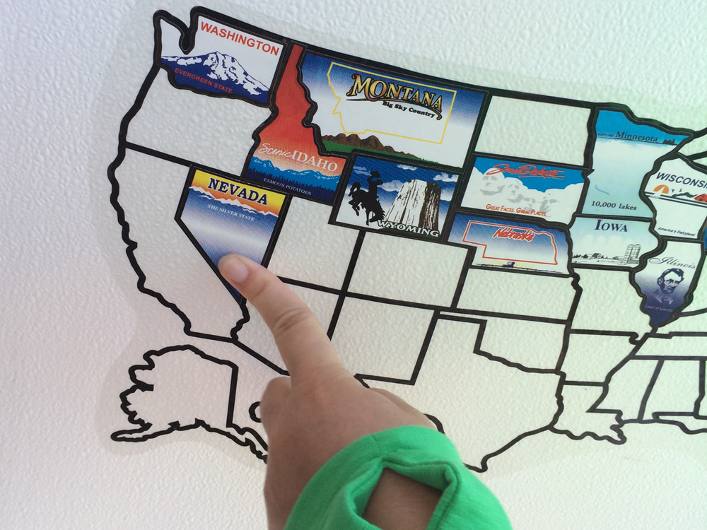 Our rule: If we camp overnight in a state we put its sticker on the map.