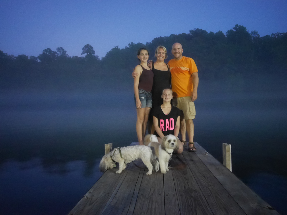 Family picture on the lake.
