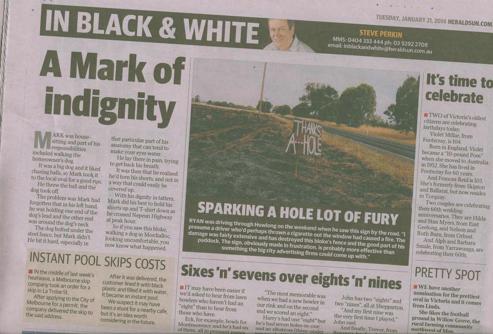 Melbourne Herald Sun January 21 2014