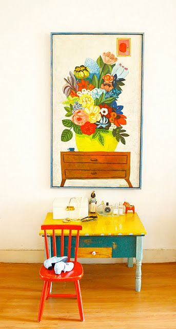 Love the color! From Colorful Homes.