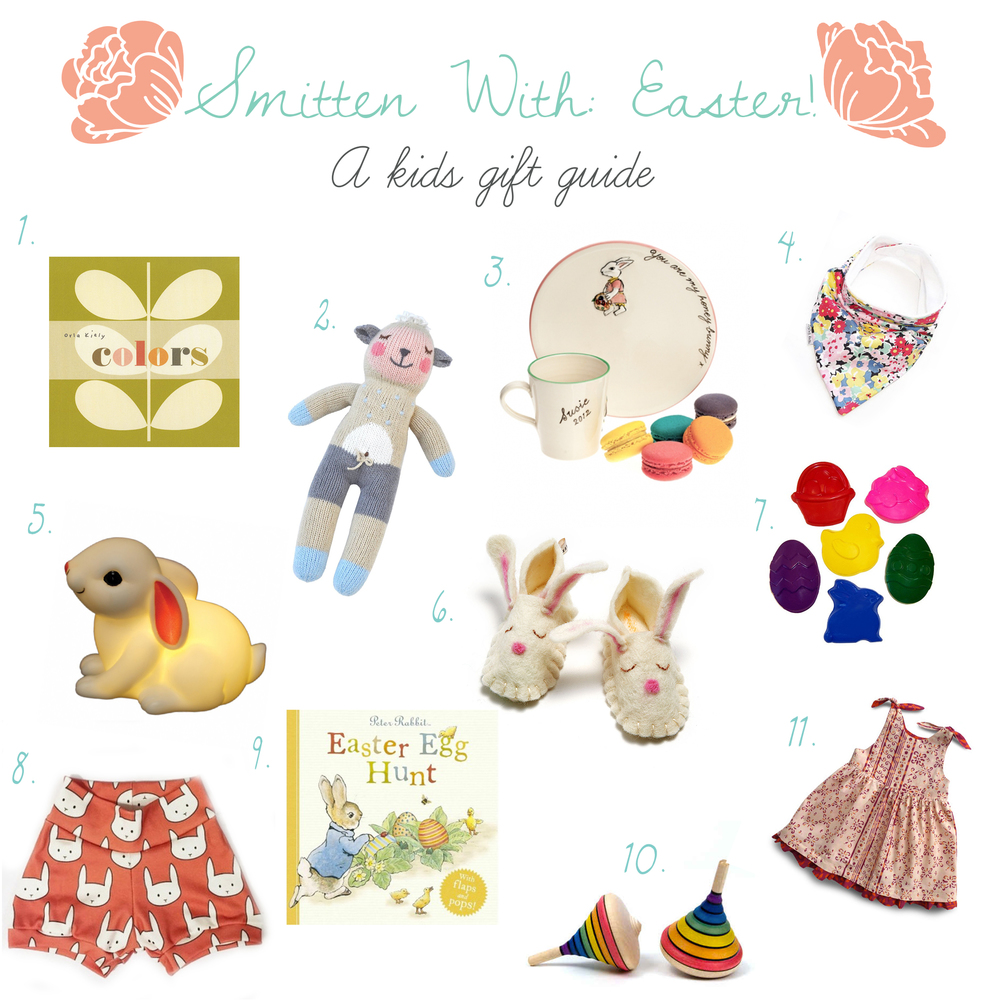 1. Colors board book 2. Lamb lovie 3. Easter dishes 4. Spring print kids scarf 5. Bunny night light  6. Bunny felt slippers 7. Easter crayons 8. Bunny shorts 9. Easter Egg Hunt book 10. Rainbow wooden tops 11. Spring outfit
