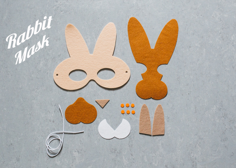 Above, you see all of the pieces laid out for the rabbit mask