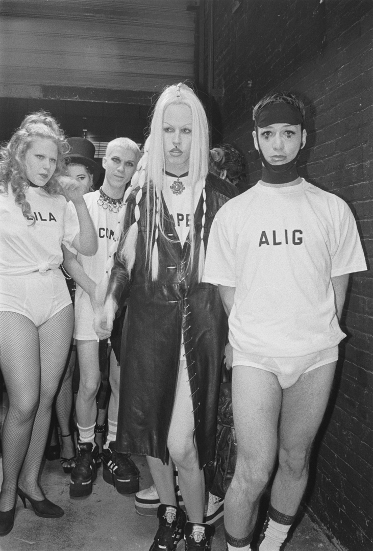 The Club Kids arriving to the opening of Club USA, 1992.  Lila Wolfe, Christopher Comp, Waltpaper and Michael Alig.  Photograph by Tina Paul.